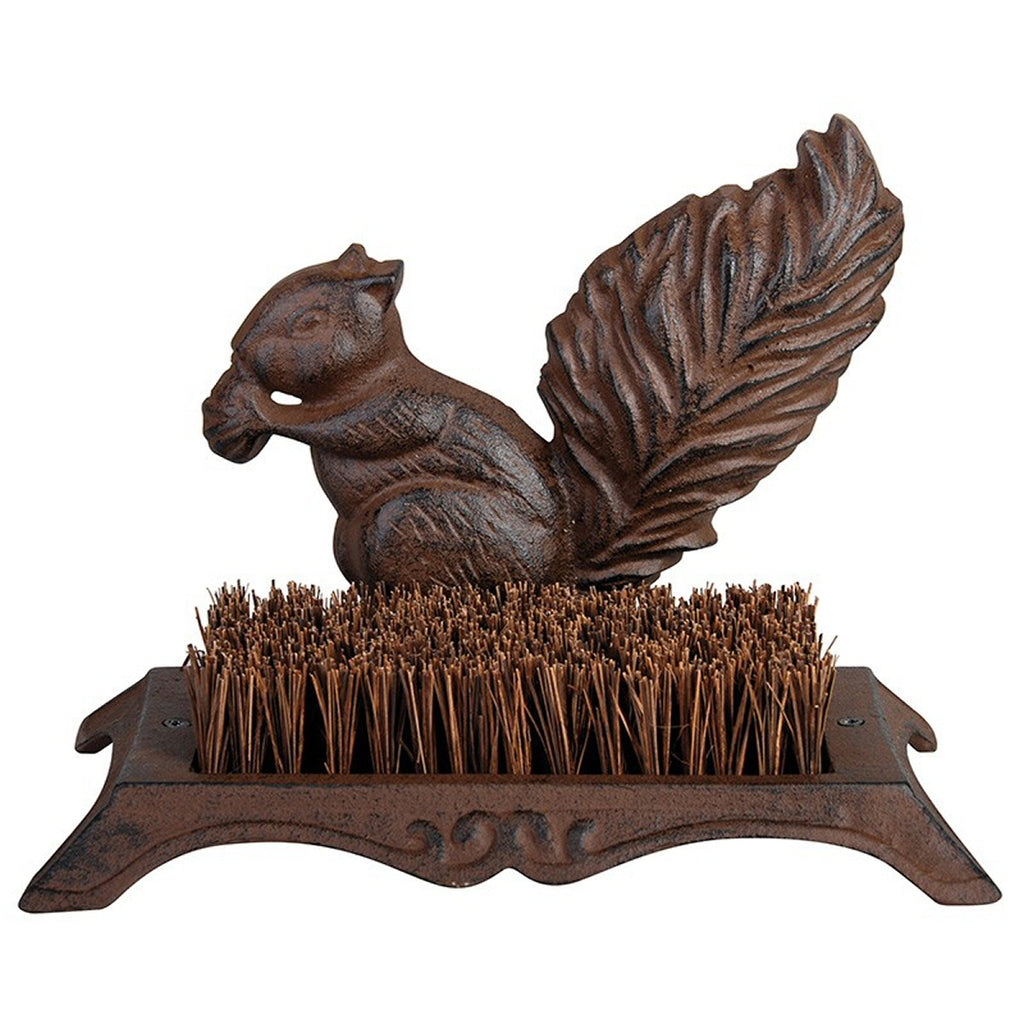 Cast Iron Squirrel Shoe Sweeper Brush