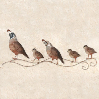 Quail Family Metal Wall Decor