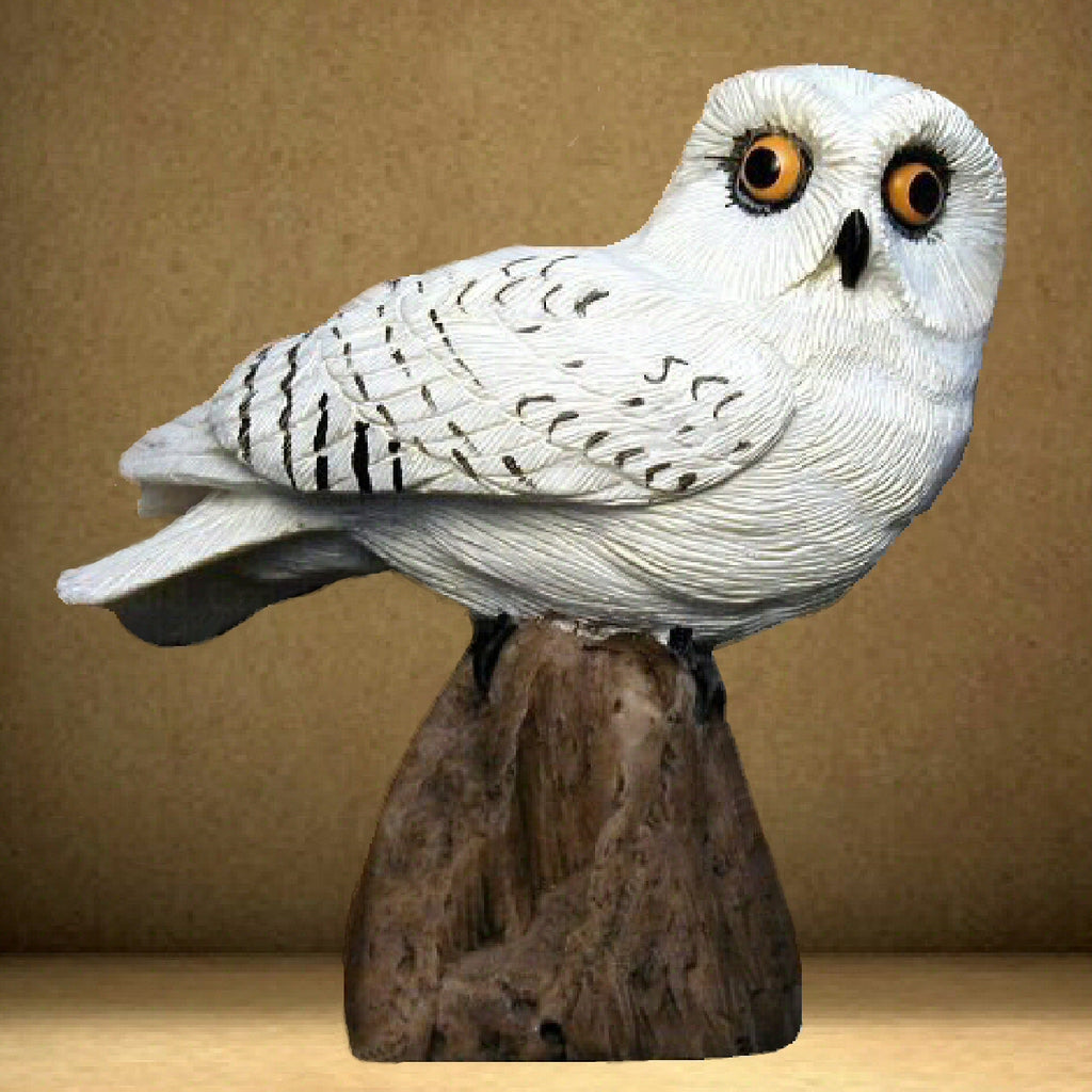 Snowy Owl Figurine Table Sculpture