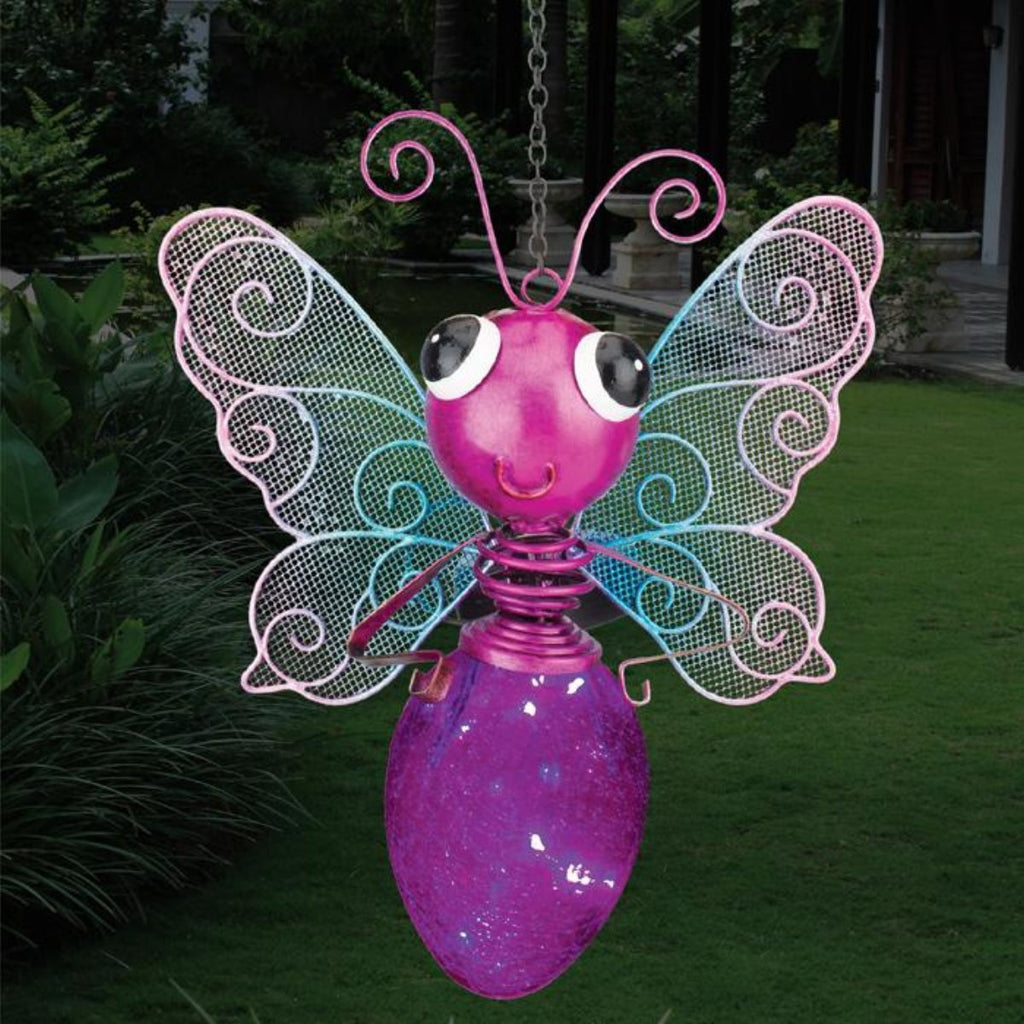 Solar Light Butterfly Lantern - Pink