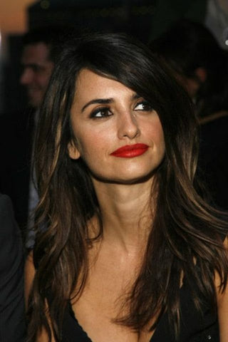 Penelope Cruz wearing red lipstick
