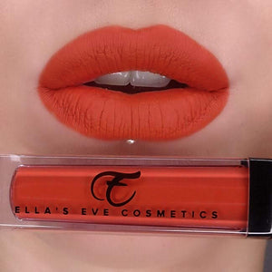 orange red lipstick shade on light skin model