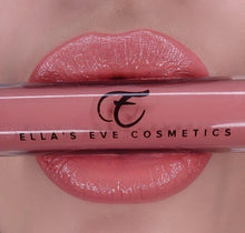 Load image into Gallery viewer, image of peach nude lips holding lip gloss bottle in peach nude shade