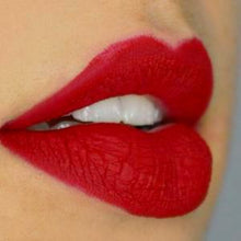 Load image into Gallery viewer, light skin model's lips in classic cherry red shade lipstick