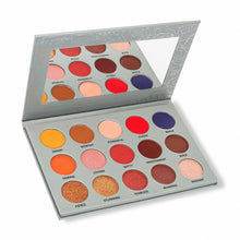 Load image into Gallery viewer, 15 eyeshadow palette with variety of neutral and warm shades - side view open