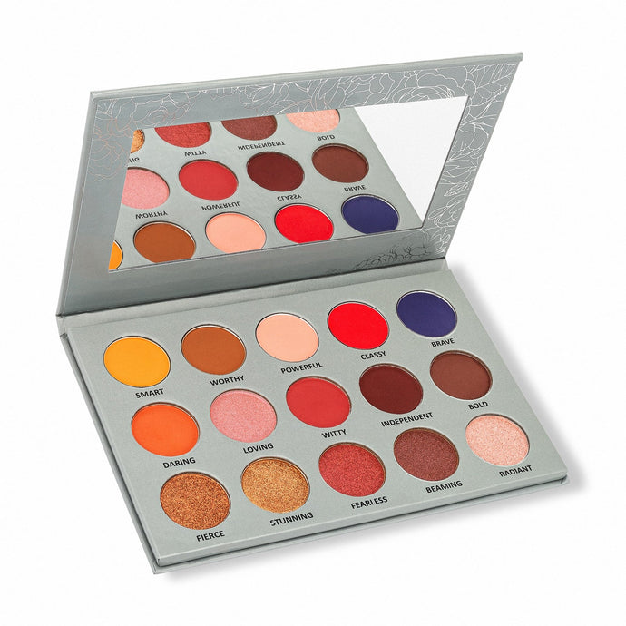 15 eyeshadow palette with variety of neutral and warm shades - side view open