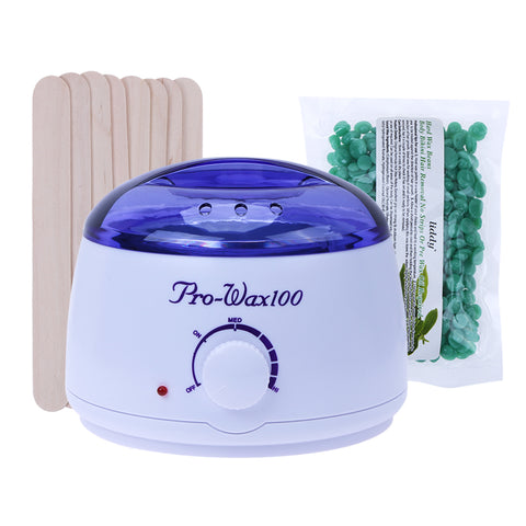 100g Wax Beans, Hot Wax Heater and 20pcs Stickers Hair Removal