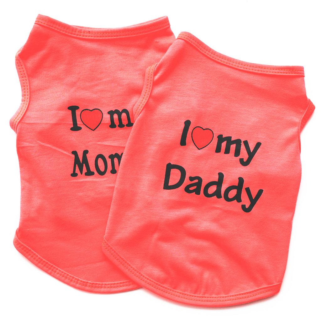 Classic Dog Clothes Summer LOVE DADDY/ LOVE MOM