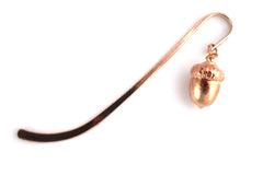 Real acorn rose gold bookmark