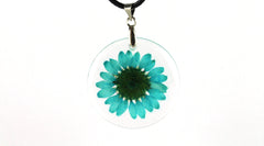 Real blue Creeping Daisy flower resin pendant necklace
