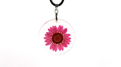 Real pink Creeping Daisy flower resin necklace