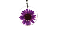 Real purple Creeping Daisy flower resin necklace
