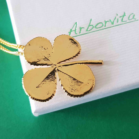 Real Four-Leaf Clover Necklace In Gold