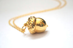 Real Acorn gold pendant necklace