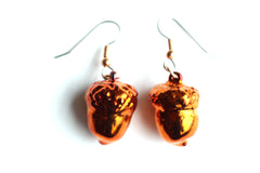 Real Acorn iridescent copper earrings