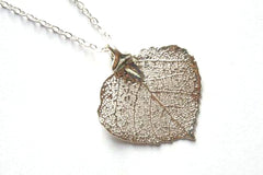 Real Aspen leaf pendant necklace