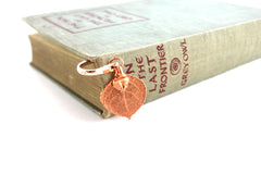 Real Aspen leaf rose gold bookmark
