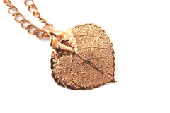 Real Aspen leaf rose gold necklace