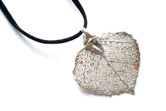 Real Aspen leaf silver pendant necklace black cord