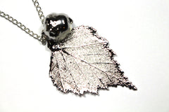 Real Birch leaf and Acorn silver pendant necklace