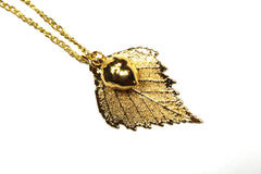 Real Birch leaf and acorn gold pendant necklace