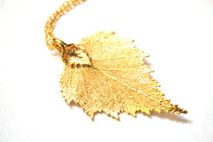 Real Birch leaf pendant necklace in gold