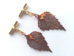 Real Birch leaves iridescent copper cufflinks