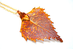 Real Birch leaf iridescent copper necklace