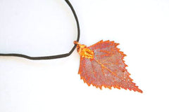 Real Birch leaf iridescent copper necklace with black cord
