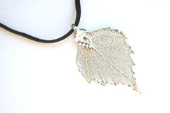 Real Birch leaf silver pendant necklace with black cord