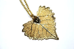 Real Cottonwood leaf gold pendant necklace