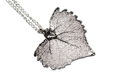 Real Cottonwood leaf silver pendant necklace