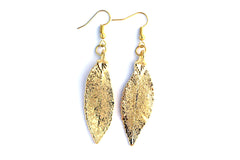 Real Elm leaf gold earrings