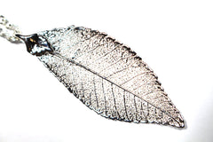 Real Elm leaf silver pendant necklace