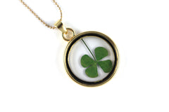 Real Four leaf clover resin necklace in gold