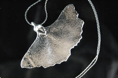Real Ginkgo leaf silver necklace