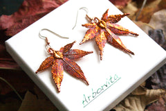 Real Japanese Maple Leaf iridescent Copper Jewellery Set