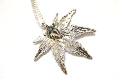 Real Japanese Maple leaf silver necklace