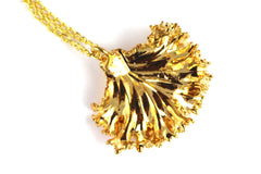 Real Kale leaf gold pendant necklace