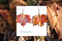 Real Maple leaf iridescent copper earrings