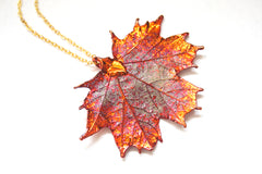 Real Maple leaf iridescent copper pendant necklace