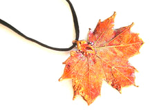 Real Maple leaf iridescent copper pendant necklace black cord