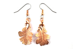 Real Oak leaf rose gold earrings
