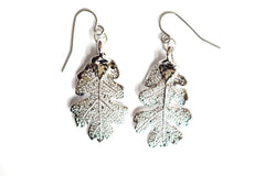 Real Oak leaf silver earrings