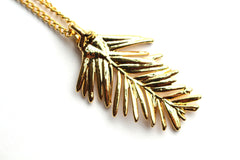 Real Redwood needle gold pendant necklace