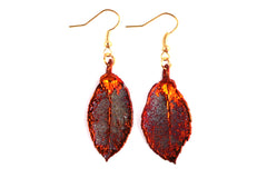 Real Rose leaf iridescent copper earrings.