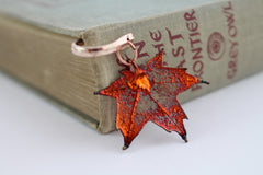 Real Sugar Maple leaf iridescent copper bookmark