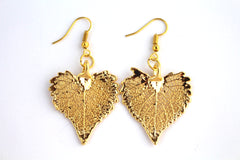 Real Cottonwood leaf gold earrings.