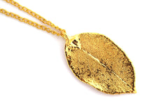 Real Rose leaf gold pendant necklace