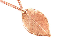 Real Rose leaf rose gold pendant necklace